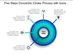 Five Steps Concentric Circles Process With Icons Ppt Powerpoint Presentation Icon Show