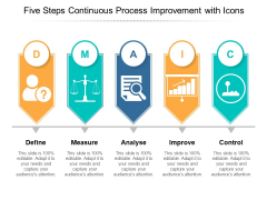 Five Steps Continuous Process Improvement With Icons Ppt PowerPoint Presentation Styles Model