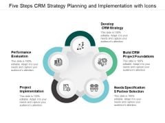 Five Steps Crm Strategy Planning And Implementation With Icons Ppt Powerpoint Presentation Outline Files