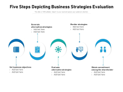Five Steps Depicting Business Strategies Evaluation Ppt PowerPoint Presentation Layouts Introduction PDF