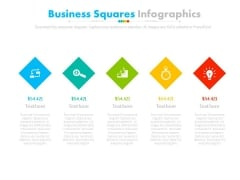 Five Steps Diamond Infographic Diagram Powerpoint Slides