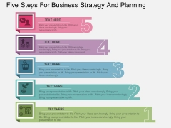 Five Steps For Business Strategy And Planning Powerpoint Template