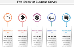 Five Steps For Business Survey Ppt PowerPoint Presentation Ideas Layouts PDF