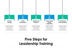 Five Steps For Leadership Training Ppt PowerPoint Presentation File Design Templates