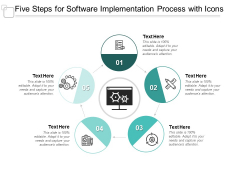 Five Steps For Software Implementation Process With Icons Ppt PowerPoint Presentation Icon Slide