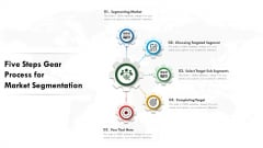 Five Steps Gear Process For Market Segmentation Ppt PowerPoint Presentation File Example PDF