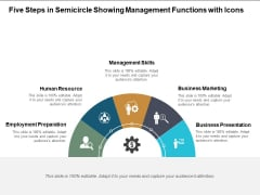 Five Steps In Semicircle Showing Management Functions With Icons Ppt PowerPoint Presentation Icon Pictures