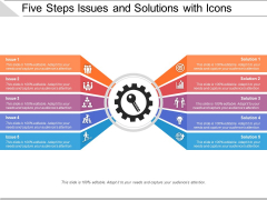 Five Steps Issues And Solutions With Icons Ppt PowerPoint Presentation Gallery Mockup PDF