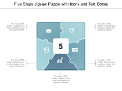 Five Steps Jigsaw Puzzle With Icons And Text Boxes Ppt Powerpoint Presentation Pictures Layout