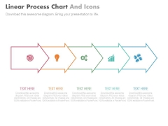 Five Steps Linear Arrows With Icons Powerpoint Slides