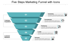 Five Steps Marketing Funnel With Icons Ppt PowerPoint Presentation Inspiration Example File
