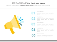 Five Steps Megaphone For Business News Powerpoint Slides