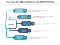 Five Steps Of Auditing Procedure With Test Of Controls Ppt PowerPoint Presentation Gallery Pictures