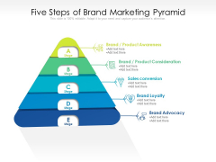 Five Steps Of Brand Marketing Pyramid Ppt PowerPoint Presentation File Graphics Download PDF