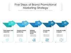 Five Steps Of Brand Promotional Marketing Strategy Ppt PowerPoint Presentation Icon Background Images PDF