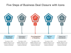 Five Steps Of Business Deal Closure With Icons Ppt PowerPoint Presentation Gallery Files PDF