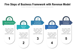 Five Steps Of Business Framework With Revenue Model Ppt PowerPoint Presentation Pictures Outline PDF