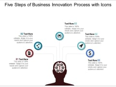 Five Steps Of Business Innovation Process With Icons Ppt PowerPoint Presentation Gallery Slides PDF