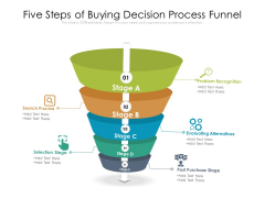 Five Steps Of Buying Decision Process Funnel Ppt PowerPoint Presentation Icon Model PDF