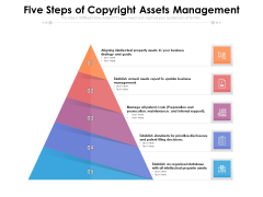 Five Steps Of Copyright Assets Management Ppt PowerPoint Presentation Gallery Icon PDF