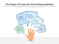 Five Steps Of Corporate Social Responsibilities Ppt PowerPoint Presentation File Smartart PDF