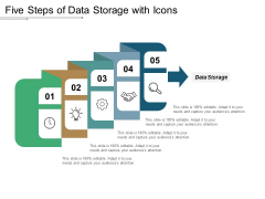 Five Steps Of Data Storage With Icons Ppt PowerPoint Presentation Styles Samples