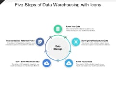 Five Steps Of Data Warehousing With Icons Ppt Powerpoint Presentation Ideas