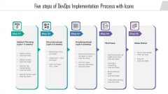 Five Steps Of Devops Implementation Process With Icons Professional PDF
