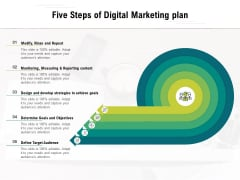 Five Steps Of Digital Marketing Plan Ppt PowerPoint Presentation Layouts Example PDF