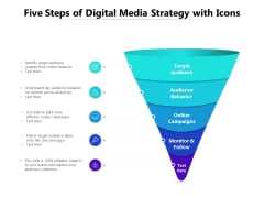 Five Steps Of Digital Media Strategy With Icons Ppt PowerPoint Presentation Gallery Slideshow PDF