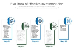 Five Steps Of Effective Investment Plan Ppt PowerPoint Presentation Portfolio Infographics PDF