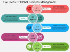 Five Steps Of Global Business Management Powerpoint Templates