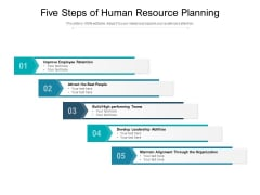 Five Steps Of Human Resource Planning Ppt PowerPoint Presentation Show Example Introduction