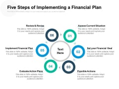 Five Steps Of Implementing A Financial Plan Ppt PowerPoint Presentation Infographic Template Show