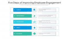Five Steps Of Improving Employee Engagement Ppt PowerPoint Presentation File Show PDF