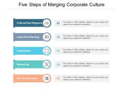 Five Steps Of Merging Corporate Culture Ppt PowerPoint Presentation Styles Deck