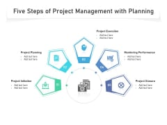 Five Steps Of Project Management With Planning Ppt PowerPoint Presentation Gallery Skills PDF