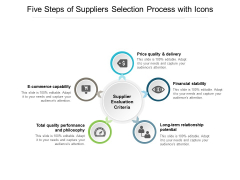 Five Steps Of Suppliers Selection Process With Icons Ppt PowerPoint Presentation Infographics Information