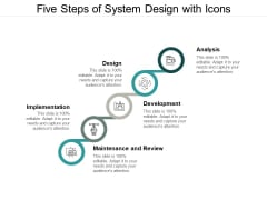 Five Steps Of System Design With Icons Ppt Powerpoint Presentation Summary Aids