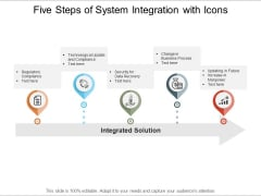 Five Steps Of System Integration With Icons Ppt PowerPoint Presentation Infographics Diagrams