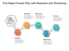 Five Steps Process Flow With Execution And Monitoring Ppt PowerPoint Presentation Gallery Influencers PDF