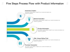 Five Steps Process Flow With Product Information Ppt PowerPoint Presentation Gallery Shapes PDF