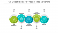 Five Steps Process For Product Idea Screening Ppt Styles PDF