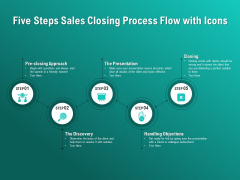 Five Steps Sales Closing Process Flow With Icons Ppt PowerPoint Presentation Summary Slideshow