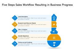 Five Steps Sales Workflow Resulting In Business Progress Ppt PowerPoint Presentation File Examples PDF