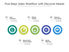 Five Steps Sales Workflow With Discover Needs Ppt PowerPoint Presentation File Inspiration PDF