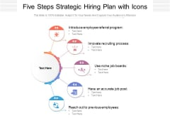 Five Steps Strategic Hiring Plan With Icons Ppt PowerPoint Presentation Gallery Visuals PDF