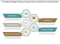 Five Steps Strategic Planning Develop Vision And Monitor Corrective Actions Ppt Powerpoint Presentation Styles Deck