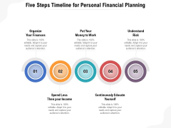 Five Steps Timeline For Personal Financial Planning Ppt PowerPoint Presentation Gallery File Formats PDF