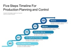 Five Steps Timeline For Production Planning And Control Ppt PowerPoint Presentation Icon Designs PDF